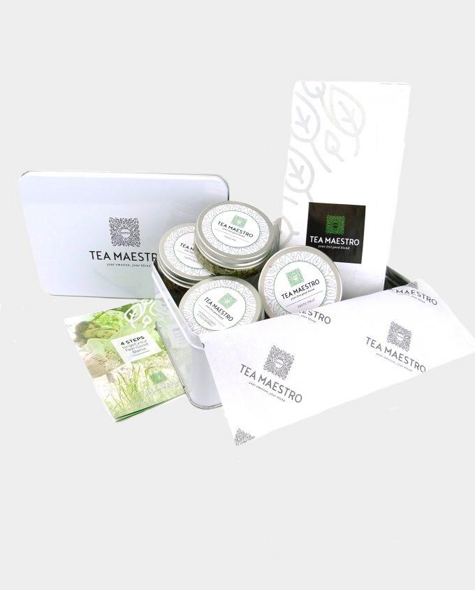 Thee cadeaupakket met witte en groene jasmijn theesoorten