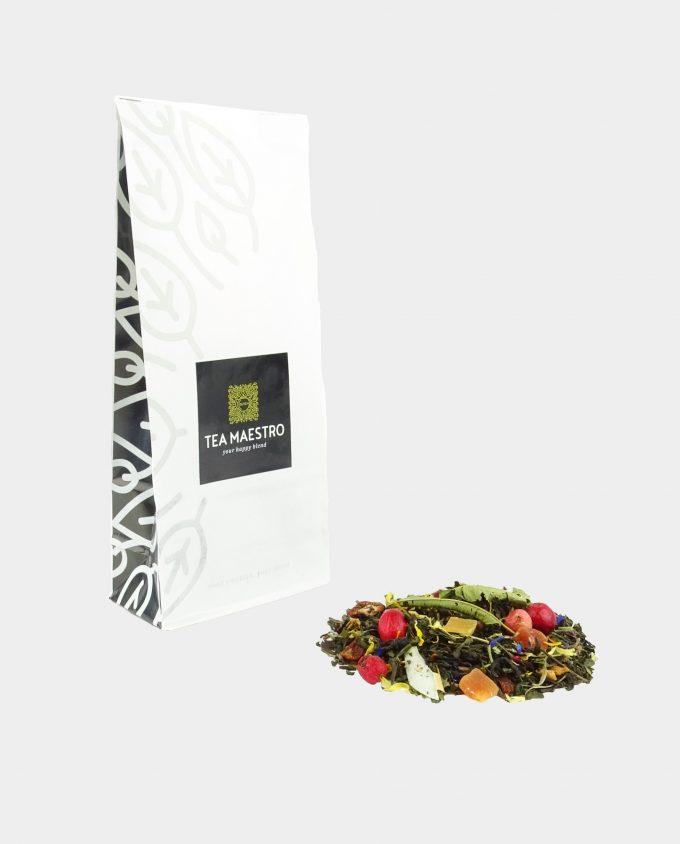 Theezakje met fruitige groene theesoorten