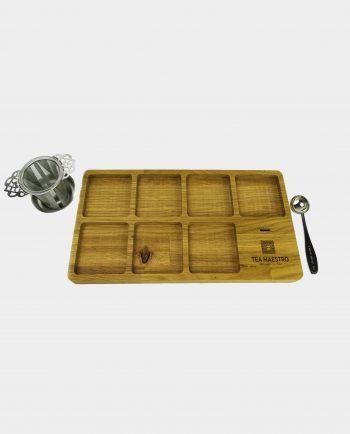 luxe theeplateau met theezeef en thee maatlepel voor losse thee blikjes
