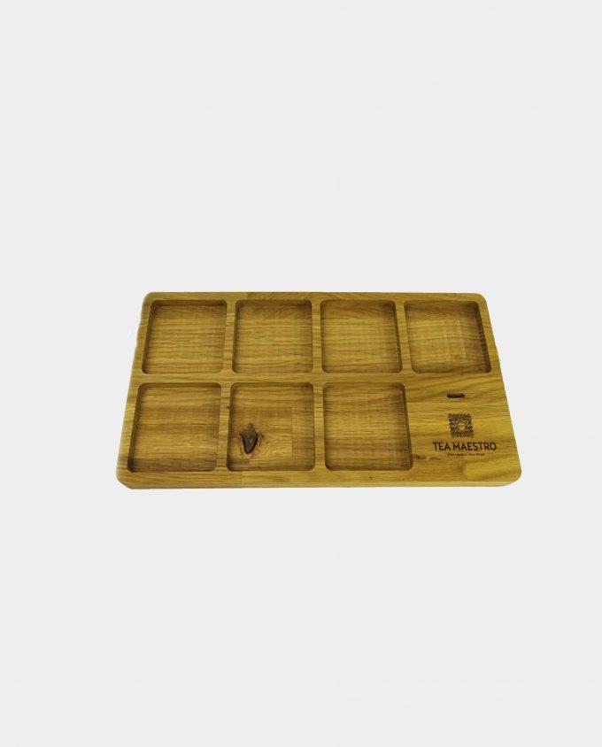 Luxe theeplateau voor 7 blikjes losse thee